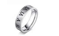 Roman Alphabet Fashion Stainless Steel Ring For Women