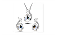 Bridal Fish Austrian Crystal Fashion Water Tear Drop Jewelry Set Fashion Women Silver Drop Earrings Necklace Jewelry