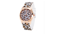 Fashion Leopard Silicone Rubber Strap Wristwatch For Ladies