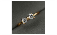Gold Plated Zircon Crystal Engagement Finger Bow Ring For Women