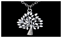 Antique Silver Plated Vintage Hollow Tree Pendant Necklace