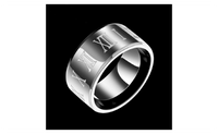 Roman Numerals Black Stainless Steel Cool Ring For Men-7