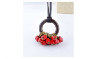 Fashion New Red Wooden Beads Collier Statement Necklaces for Women