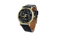 Luxury Women's Math Symbols Faux Leather Analog Quartz Wrist Watch