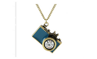 Antique Gold Plated Long Chain Colorful Enamel Camera Pendant Necklace
