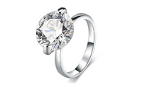 Cubic Zirconia 10 Carat White Gold Plated Engagement Ring