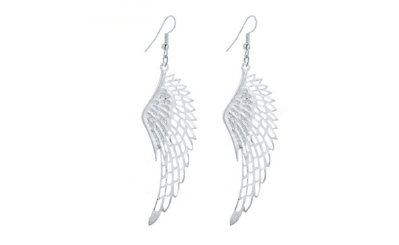 New Fashion Big Trendy Wing Silver Plated Long Earrings