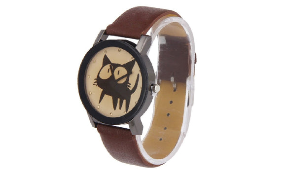 Fashion Cute Cat Print Faux Leather Quartz Analog Wristwatch