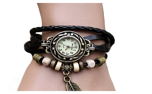Retro Butterfly Leaf Fashion leather Bracelet Water Quartz Hand Clock