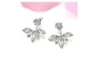 Gold and Silver Plated Leave Crystal Stud Earring For Women