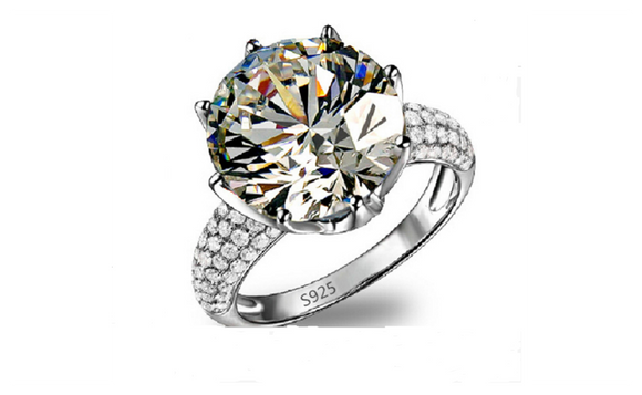 4.75 Carat Cubic Zirconia Jewelry White Gold Plated Rings