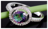 Silver Plated Multicolor Cubic Zirconia Womens Exquisite Wedding Ring