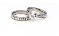 Stainless Steel Pave White Zircon Party Ring Sets For Women