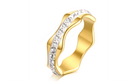 Stainless Steel Women CZ Diamond Wave Shape Ring