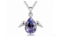 Rhinestone Wings Cubic Zirconia Drop Pendants Chain Necklace for Women