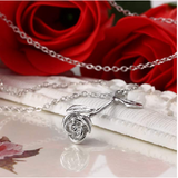 Fairytale Flower Rose Pendant Necklace for Women