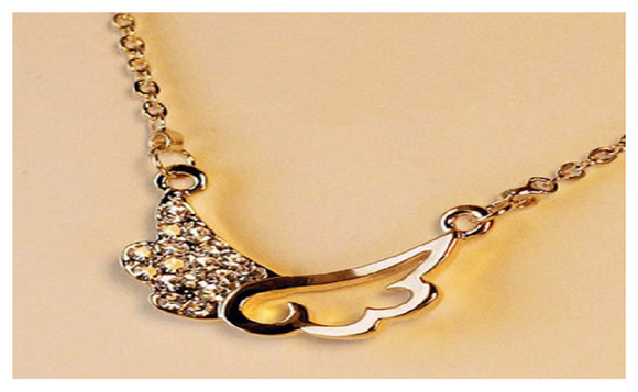 Sweet Wings of Love Small Short Paragraph Pendant Necklace