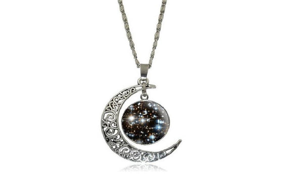 New Galaxy Moon Universe Out of Glass Cabochon Pendant Necklace
