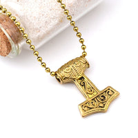 Punk Norse Viking Hammer Pendant Necklace for Men