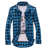 Men's Cotton Turn-down Collar Plaid Full Sleeves Casual Shirt size mlxl