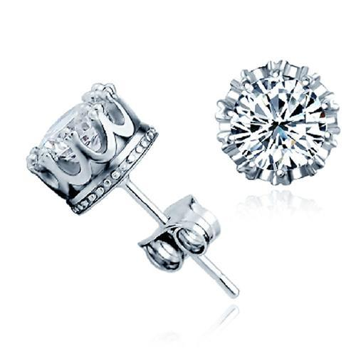 Women's Clear Crown Style Rhinestone Shiny Stud Earrings