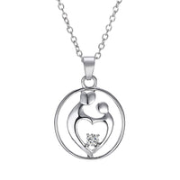 Silver Plated Mother Daughter Baby Charms Pendant Necklaces for Women