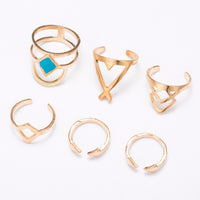 Bohemian 6pcs/Pck Vintage Anti Silver Blue Turquoise Rings for Women