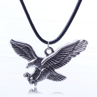 Leather Cord Vintage Sliver Eagle Pendant Necklace