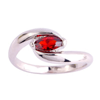 Marquise Cut Garnet Silver Ring for Women (6,7,8,9)