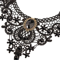 Black Lace Alloy Waterdrop Pendant Statement Bib Choker for Women