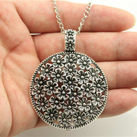 Silver Tone Round Flowers Pendant Necklace For Women - sparklingselections