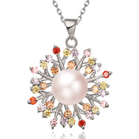 Rose Gold Imitate Pearl Colorful Cubic Zircon Flower Pendant Necklace for Women