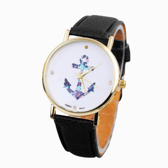 Lady Girl Vintage Flower Anchor Leather Quartz Wrist Watches