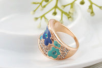 Trendy Exquisite Blue Plum Blossom Ring for Women