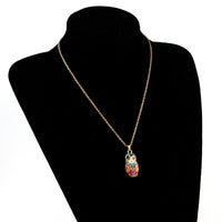 Enamel Russian Dolls Pendant Necklace for Women