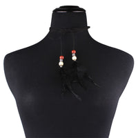 Multilayer Beads Feather Pendant Collar Necklace for Women (N45991)
