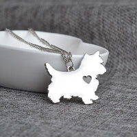 Lovely Animal Terrier Dog Heart Pendant Necklace for all