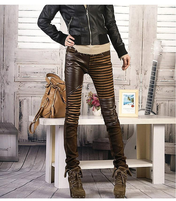 women leather slim Casual Denim jeans
