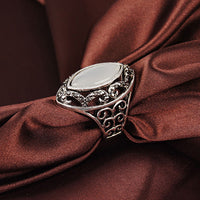 Luxury Hollow Big Resin Opal Party Wedding Ring for Women