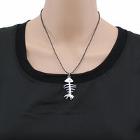 Vintage Silver Fish Bones Pendant Necklace for Women