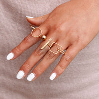 Cute Round Cube Ring Set for Woman (444M)
