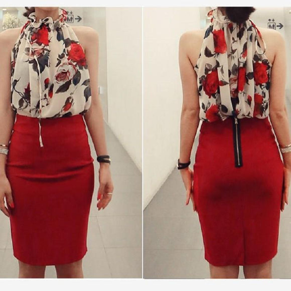 new Women Shirt Floral Print Sleeveless Top size sml