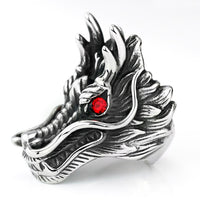 Red Stone Dragon Head Rings For Men