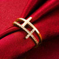 Classic Gold color Cross Crystal Rings For Women
