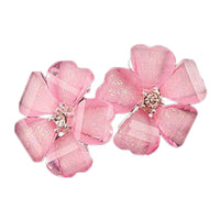 New Stylish Alloy Cute Candy Color Leaf Crystal Stud Earrings