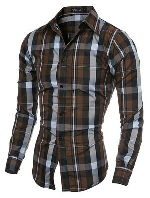 New Fashion Brand Casual Plaid Shirts for men size mlxl