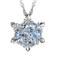 Zircon Snowflake Shaped Pendant Necklace for Women
