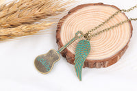 Romantic Green Angel Wing Guitar Unisex Pendant Necklace