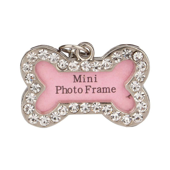 Bone Shaped Dog Tag Pink Dogs Pet Supplies