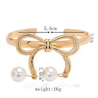 Imitation Pearl Bows Opening Bangles for Women (3741)